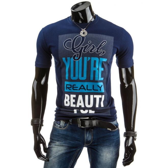 Tričko pre pánov so štýlovou potlačou v sivej farbe