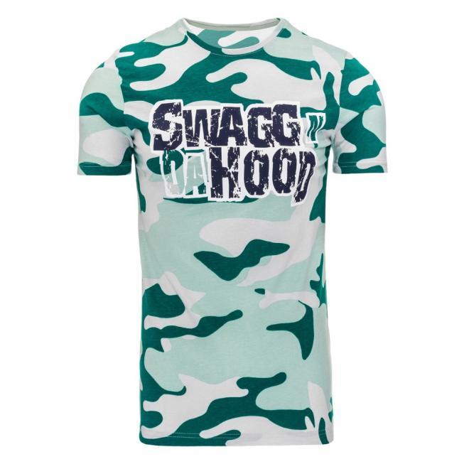 Tričko pre pánov s maskáčovým motívom zelenej farby