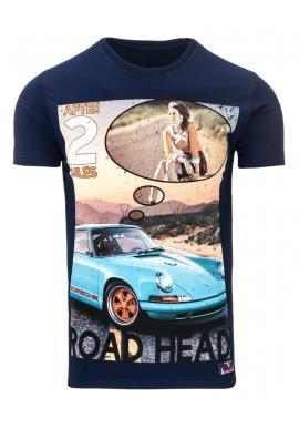 Tričko pre pánov s retro potlačou v sivej farbe