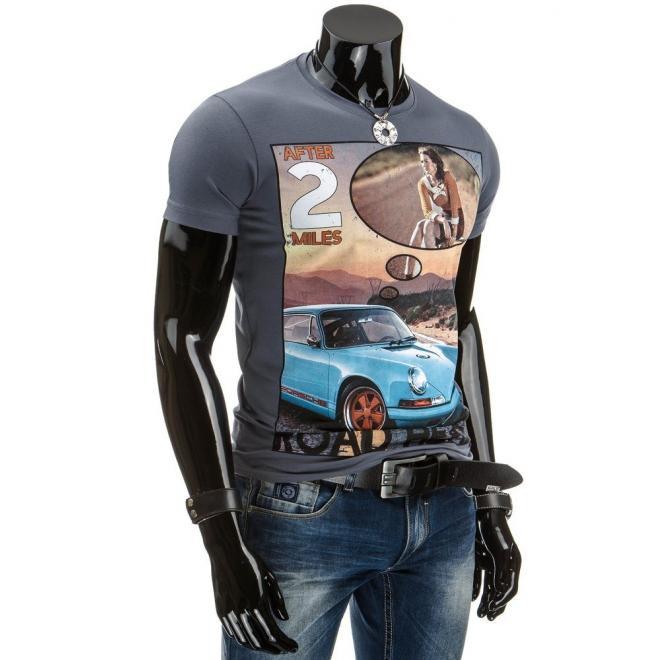 Pánske tričko tmavomodrej farby s retro potlačou