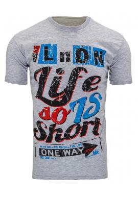 Sivé tričko s farebnou potlačou pre pánov