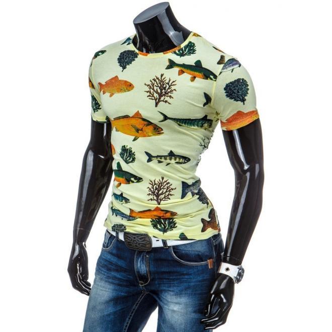 Pánske tričko žltej farby s motívom rýb