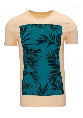 Pánske tričko modrej farby so zelenou potlačou