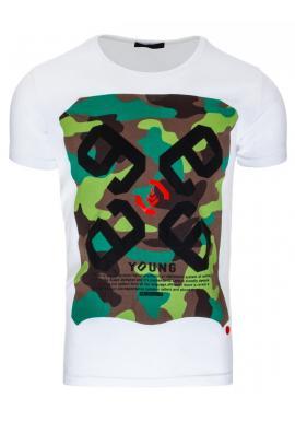 Pánske tričko bielej farby s maskáčovým motívom