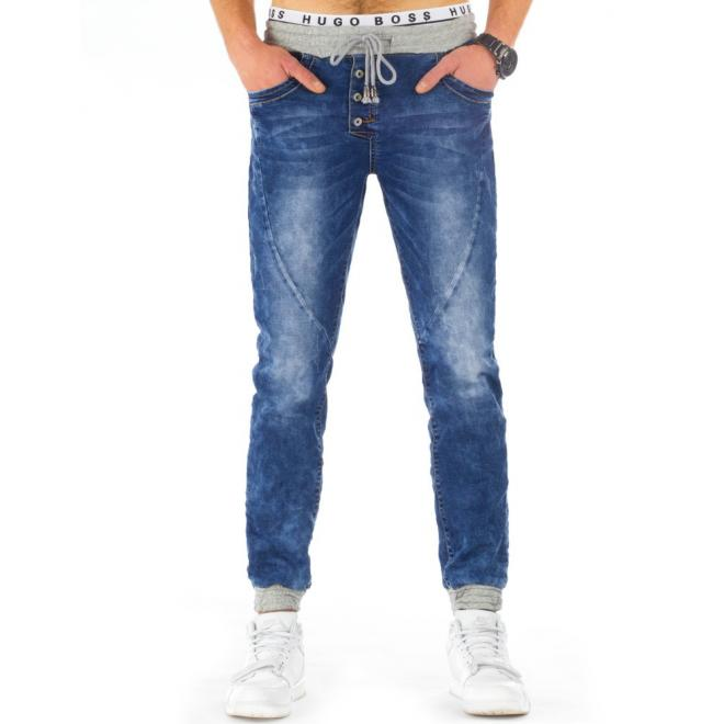 Pánske modré športové nohavice so sivými detailami