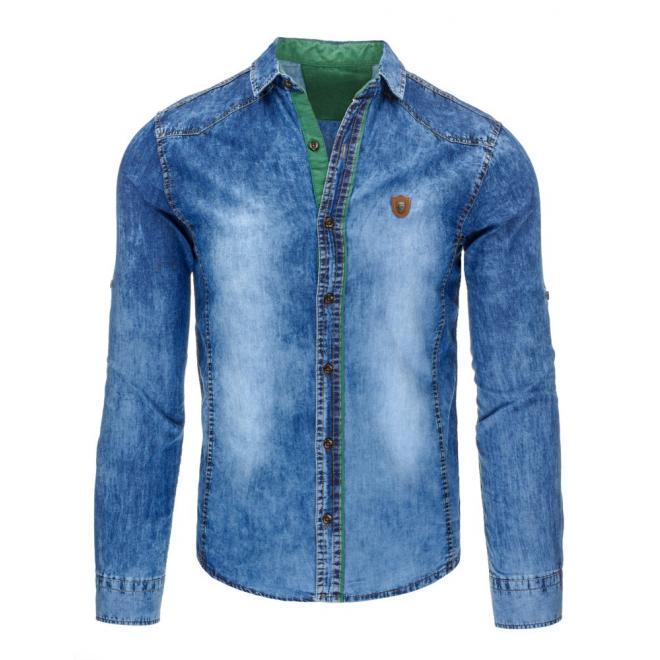 Pánska džínová košeľa so zelenými detailami