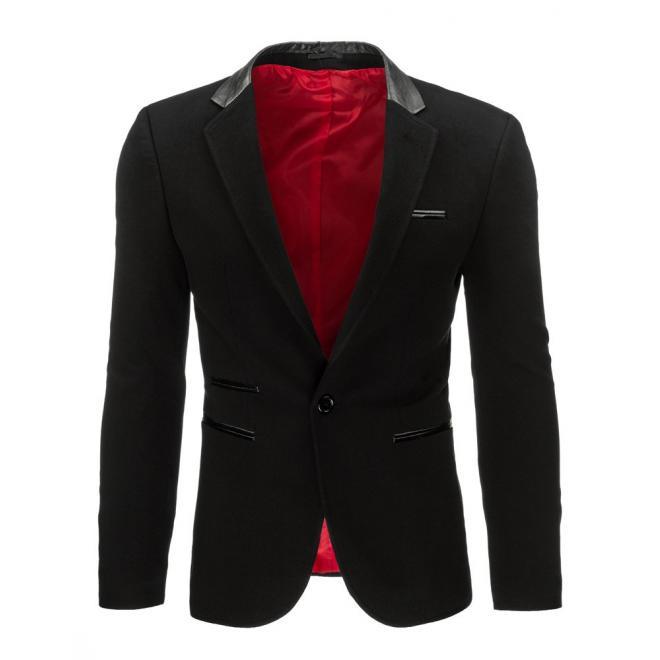 Sako čiernej farby v elegantnom štýle pre pánov