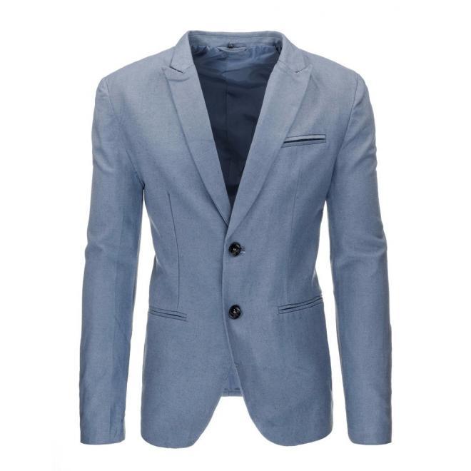 Pánske elegantné sako modrej farby s dvomi gombíkmi
