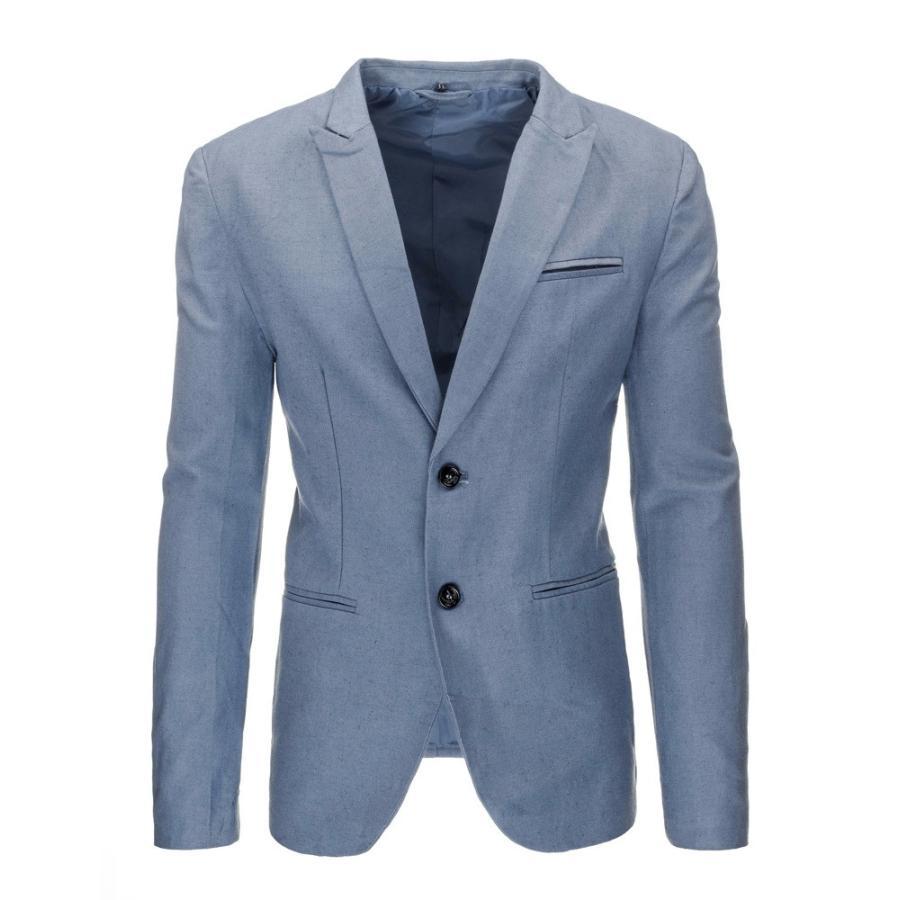 5b1bb2a3404f Pánske elegantné sako modrej farby s dvomi gombíkmi - skvelamoda.sk