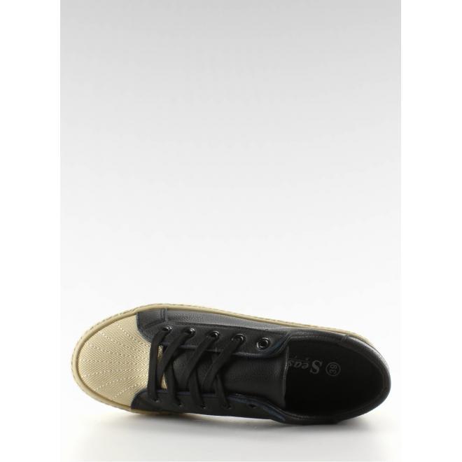 Dámske semišové tenisky čiernej farby s bielymi prvkami