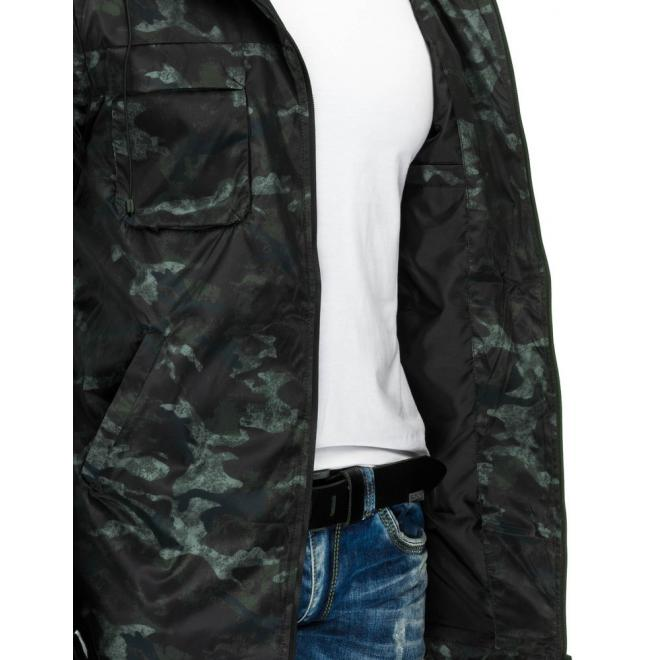 Maskáčová dlhšia bunda na prechodné obdobie
