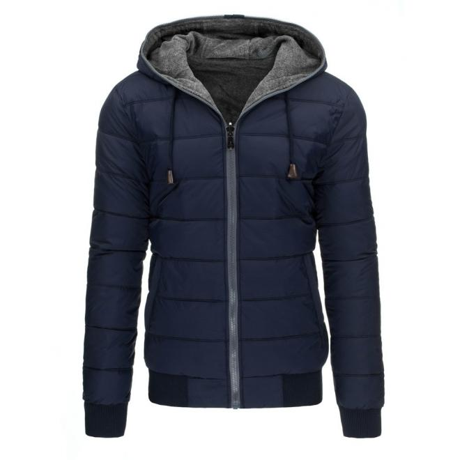 Prešívaná zimná bunda pre pánov v tmavomodrej farbe