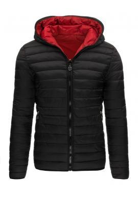 Prešívaná obojstranná bunda na zimu v čierno-červenej farbe