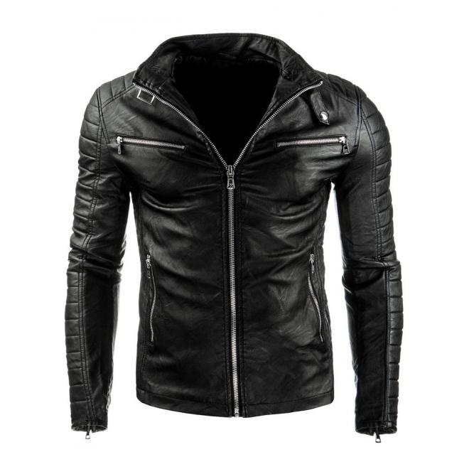 c42599c9aa83 Čierna kožená bunda s prešívanými prvkami pre pánov - skvelamoda.sk
