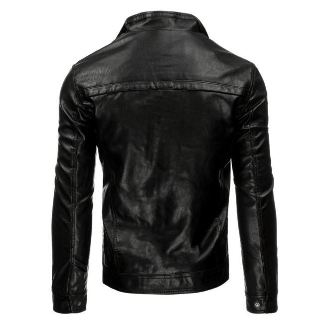 Pánska kožená bunda so zapínaním na zips v čiernej farbe