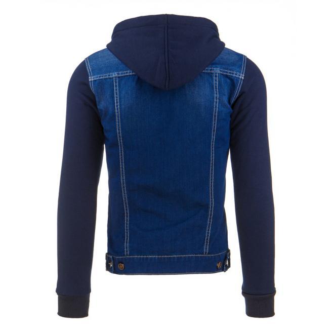 Pánska riflová bunda pre pánov s rukávmi a kapucňou v mikinovom štýle