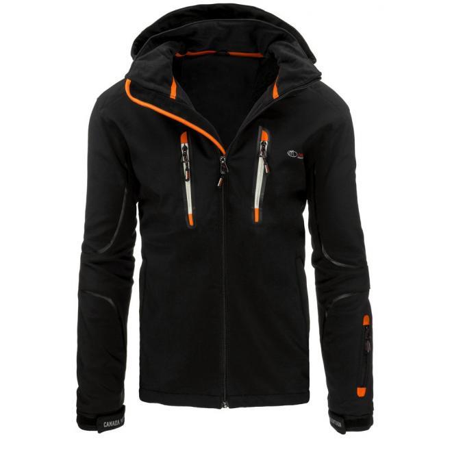 Prechodná pánska bunda čiernej farby s oranžovými prvkami