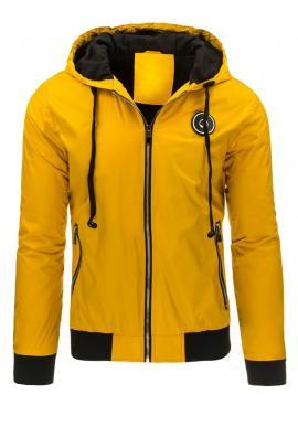 Pánska prechodná bunda s kapucňou v žltej farbe
