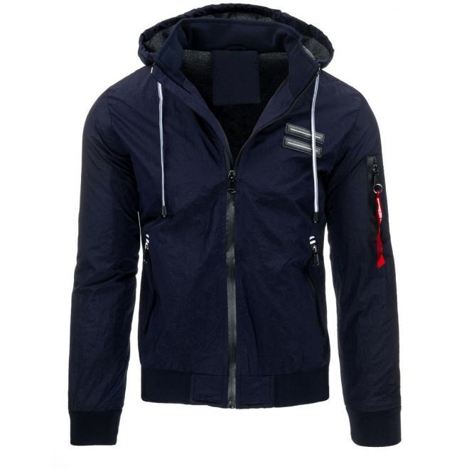 Tmavomodrá prechodná bunda s kapucňou pre pánov