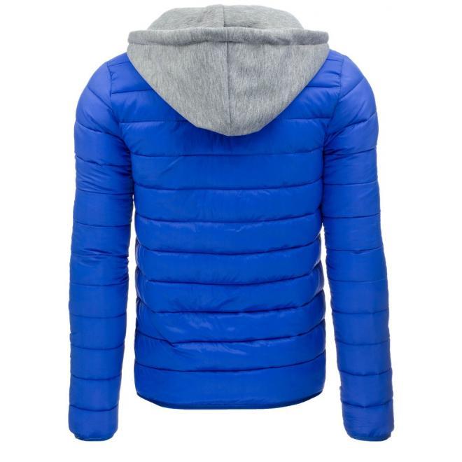 Tmavomodrá prešívaná bunda s kapucňou pre pánov