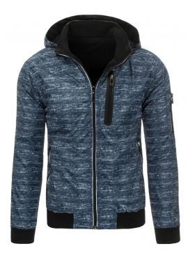 Pánska obojstranná bunda s kapucňou v čierno-sivej farbe