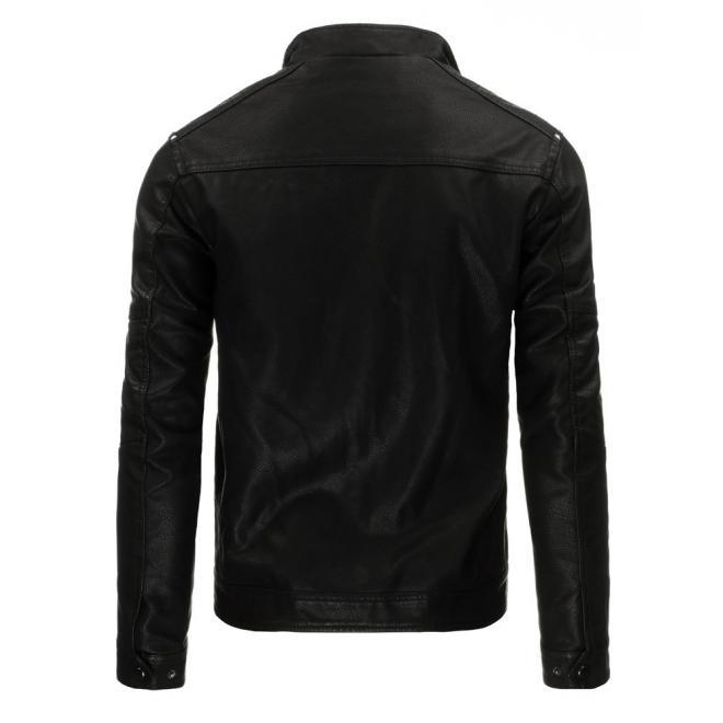 Pánska kožená bunda Bomber v čiernej farbe