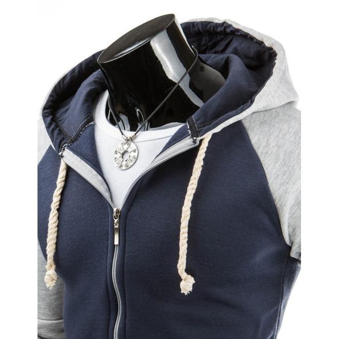 Mikina na zips v sivej farbe s kapucňou