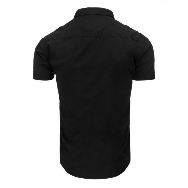 Tmavomodrá košeľa s krátkym rukávom pre pánov