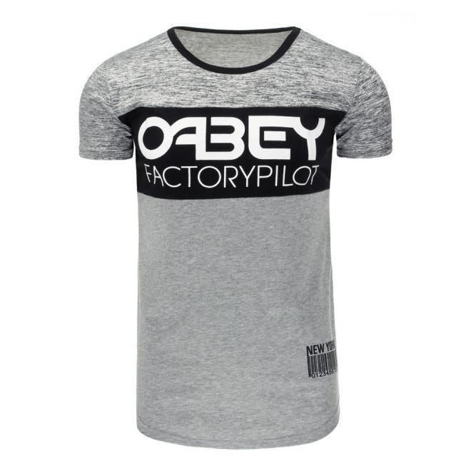 Sivé štýlové tričko s potlačou pre pánov