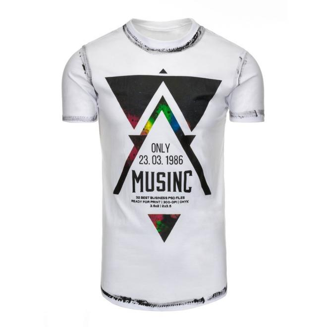 Biele tričko s maskáčovým motívom pre pánov