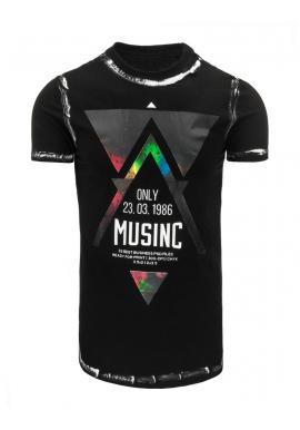 Pánske tričko so štýlovou potlačou v sivej farbe