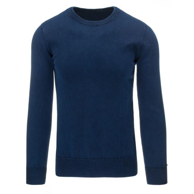 Pánsky bavlnený sveter v tmavomodrej farbe s okrúhlym výstrihom