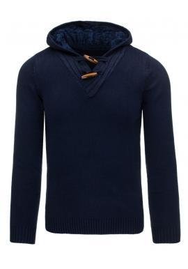 Pánsky tmavomodrý sveter s oteplenou kapucňou