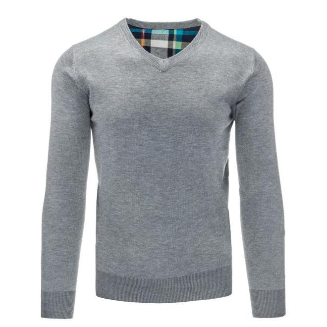 Sivý pásikavý sveter s výstrihom V pre pánov