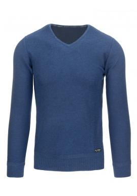 Sivý pánsky sveter so záplatami na lakťoch a výstrihom V