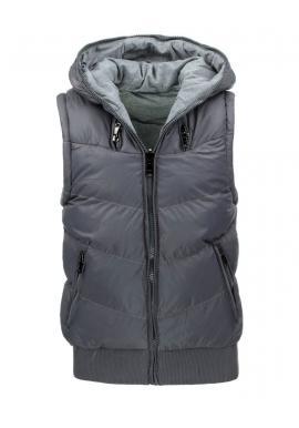 Obojstranná pánska vesta s kapucňou v sivej farbe