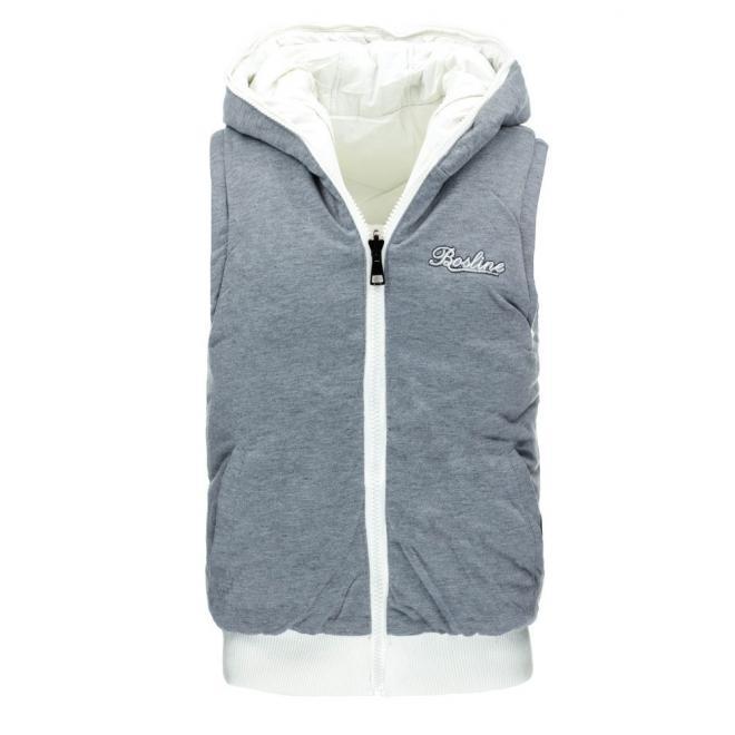 Pánska obojstranná vesta bielej farby s kapucňou
