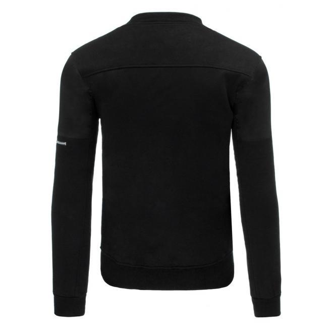 Čierne mikiny bez kapucne so zapínaním na zips pre pánov