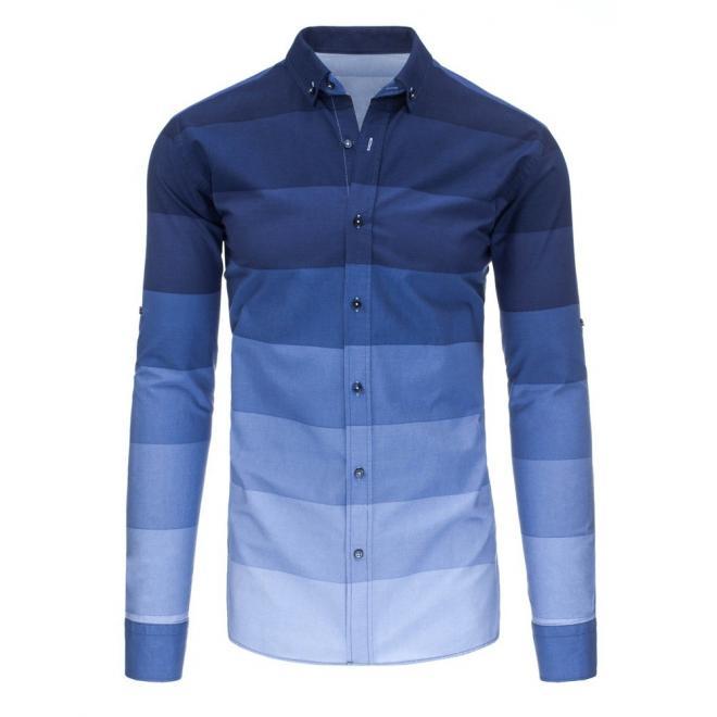 Pásikavá pánska košeľa tmavomodrej farby s dlhým rukávom