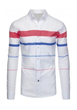 Biela košeľa s pásikmi pre pánov
