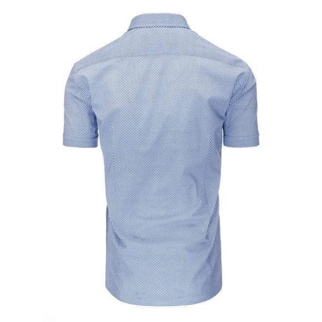 Modro-biela vzorovaná košeľa s krátkym rukávom pre pánov