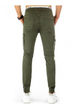 ac30bcedd707 ... Športové pánske nohavice s vreckami v olivovej farbe
