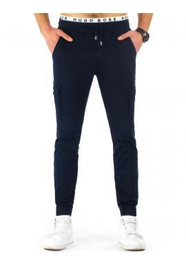 Olivové športové nohavice pre pánov s vreckami