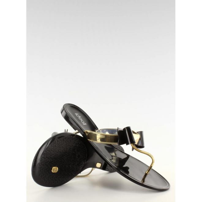 Dámske čierne gumené žabky so zlatým pásikom