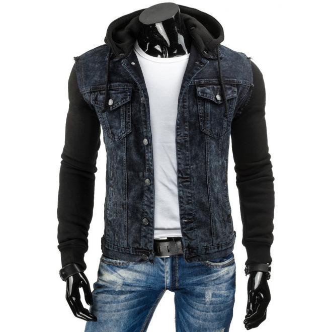 40b5db5b8 Štýlová riflová bunda s odopínateľnou kapucňou čiernej farby ...