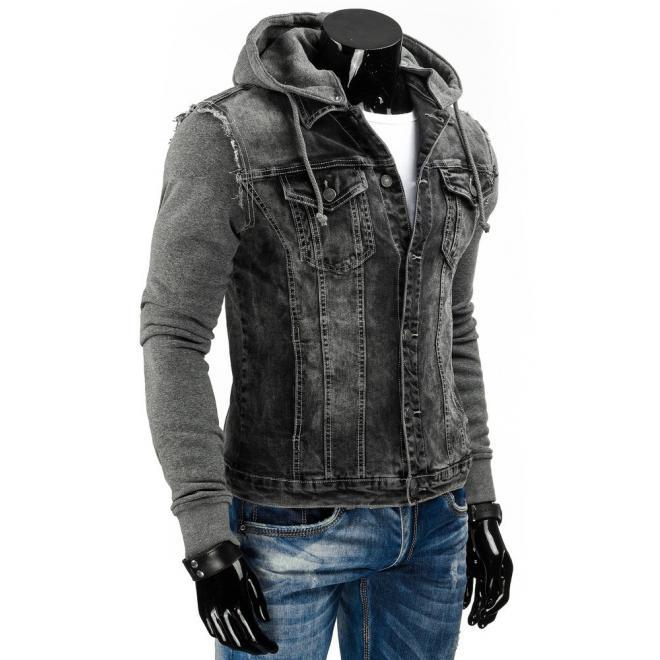 Štýlová riflová bunda s odopínateľnou kapucňou čiernej farby