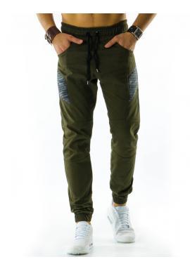 Hnedé športové nohavice s prešívanými prvkami pre pánov