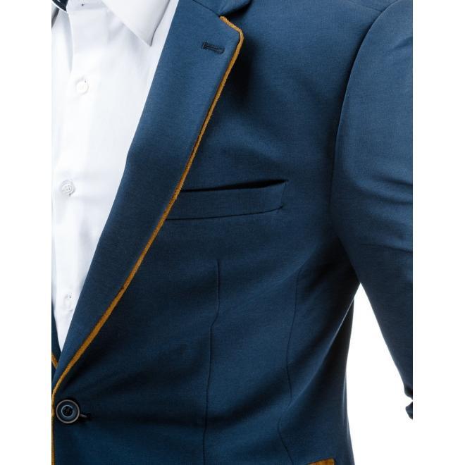 Sako pre pánov v sivej farbe s hnedými detailami