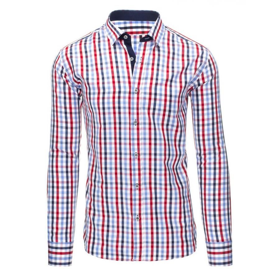 a481b6923046 Modro-červená kockovaná košeľa s dlhým rukávom pre pánov - skvelamoda.sk