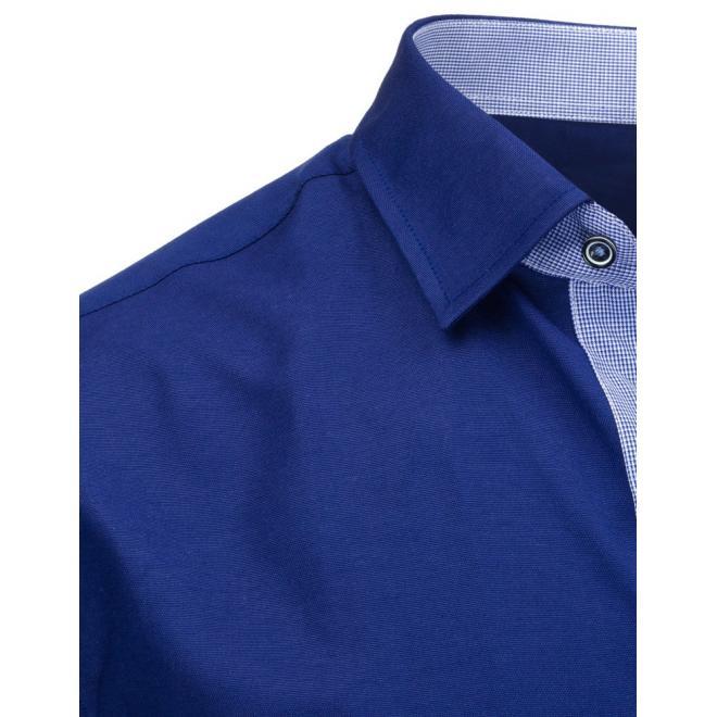 Pánska kockovaná košeľa s dlhým rukávom v modrej farbe